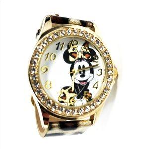 Cheetah print Minnie mouse rhinestone Disney watch